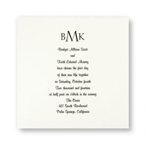Classic Monogram Traditional Wedding Invitations