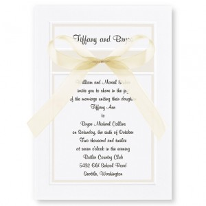 Classic Organza White and Pearl Wedding Invitations