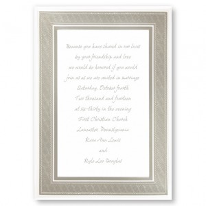Classic Platinum Silver Border Wedding Invitations