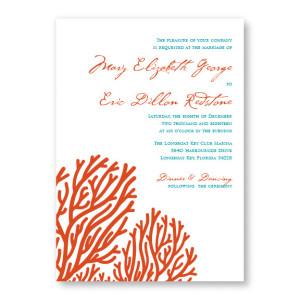 Coral Beach Wedding Invitations