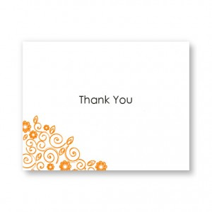 Flirty Flowers Letterpress Thank You Cards