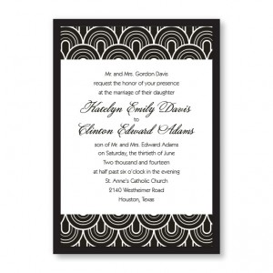 Delicately Bordered Black and White Wedding Invitations