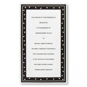Delightful Hearts Black and White Wedding Invitations