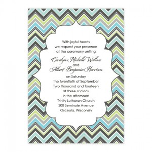 Distinctive Chevron Border Wedding Invitations
