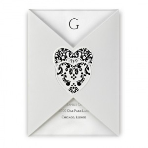 Double Damask Heart Wedding Invitations