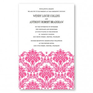 Dramatic Damask Letterpress Wedding Invitations