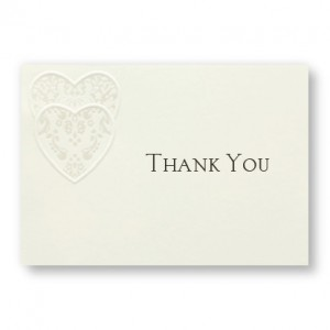 Damask Hearts Thank You Cards