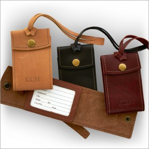 Embossed Leather Privacy Luggage Tags