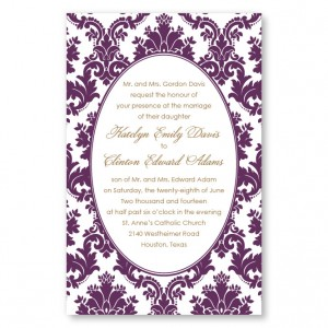 Engagingly Damask Letterpress Wedding Invitations