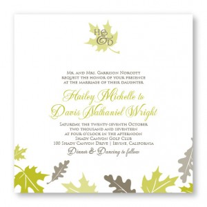 Fall Leaves Square Autumn Nature Wedding Invitations
