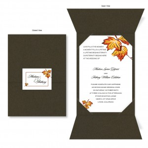 Falling Leaves Chocolate Brown Folio Wedding Invitations
