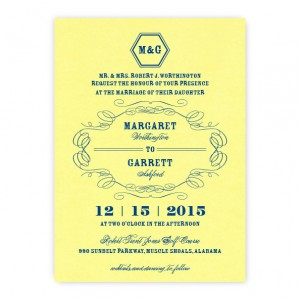 Fallon Thermography Monogram Wedding Invitations