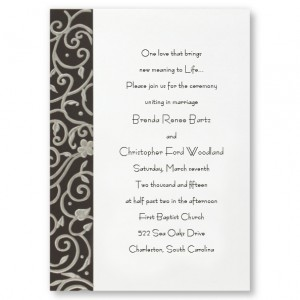 Filigree on Black Floral Wedding Invitations