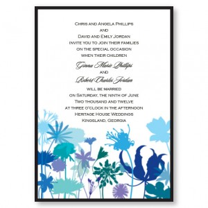 Flora Blue Flowers Wedding Invitations