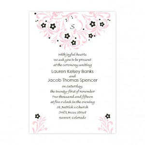 Floral Allure Pink Initial Wedding Invitations