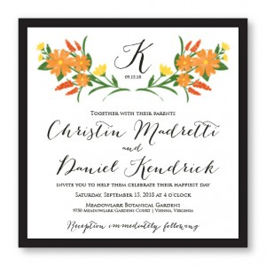 Floral Monogram Square 2-Layer Unique Wedding Invitations