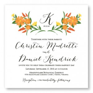 Floral Monogram Square Unique Wedding Invitations