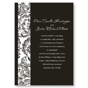 Floral Passion Black and White Wedding Invitations