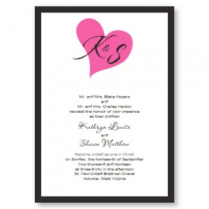Forever In My Heart Pink Wedding Invitations