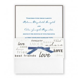 Forever Love with Navy Ribbon Wedding Invitations