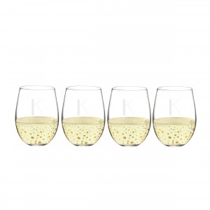 Gold Dot Stemless Wine Glasses
