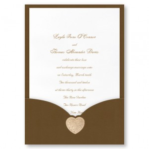 Golden Locket Brown Pocket Wedding Invitations