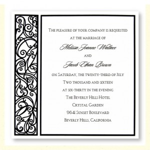 Graceful Black & White Square Wedding Invitations