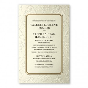Gwen Ecru Damask Wedding Invitations