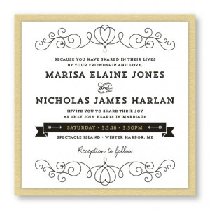 Heart 2-Layer Square Vintage Wedding Invitations