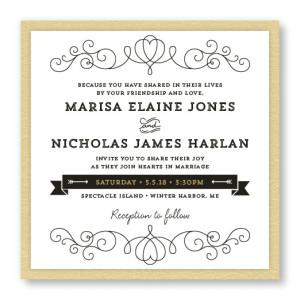 Heart 2-Layer Square Vintage Wedding Invitations