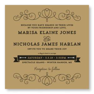 Heart Vintage Wedding Invitations