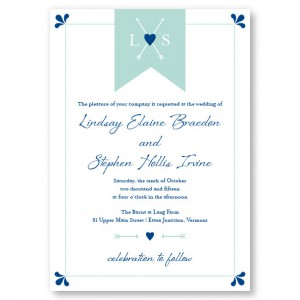 Hearts and Arrows Monogram Wedding Invitations