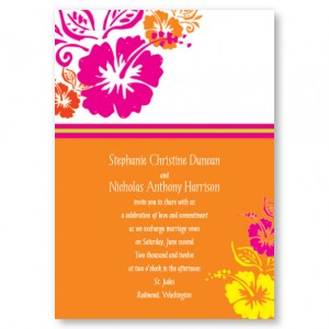 Hibiscus Flowers Wedding Invitations