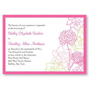 Pink Hydrangea Bloom II Floral Wedding Invitations
