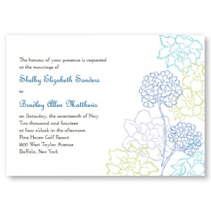 Hydrangea Bloom Blue Wedding Invitations