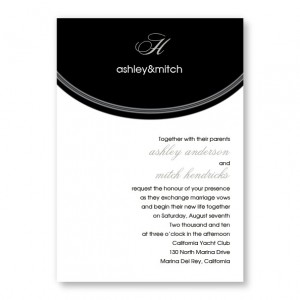 Initial Reaction Black and White Wedding Invitations