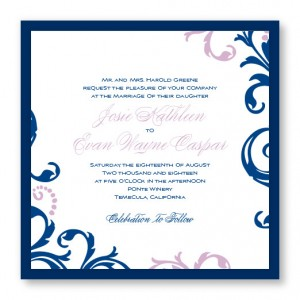 Josie Square 2-Layer Scroll Wedding Invitations
