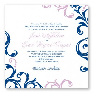 Josie Square Scroll Wedding Invitations