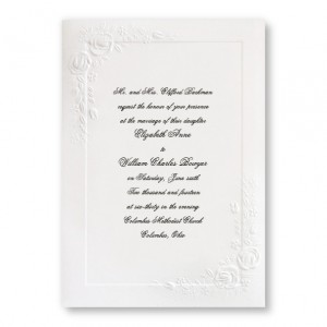 Large Embossed Roses White Wedding Invitations