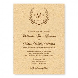 Laurel Monogram Wedding Invitations