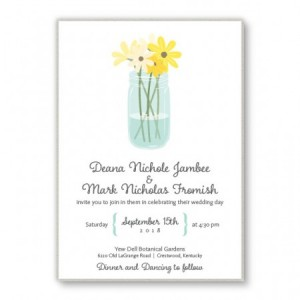 Mason Jar 2-Layer Floral Wedding Invitations