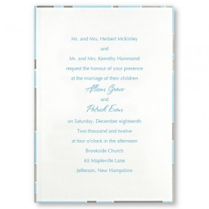 Modern Border Gray and Aqua Wedding Invitations