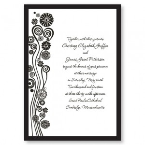 Modern Swirled Hearts and Flowers Wedding Invitations