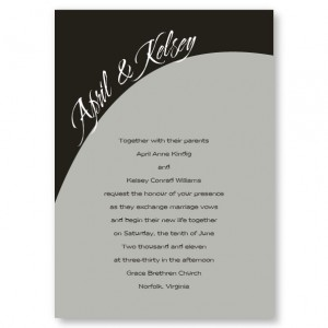 One Accord Black and Gray Wedding Invitations