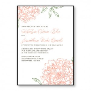 Peony 2-Layer Floral Wedding Invitations