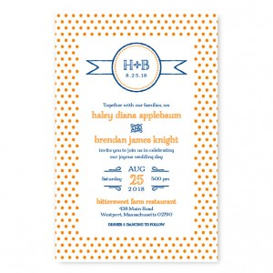 Petite Dots Letterpress Wedding Invitations