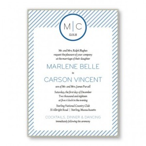 Pinstripe 2-Layer Monogrammed Wedding Invitations