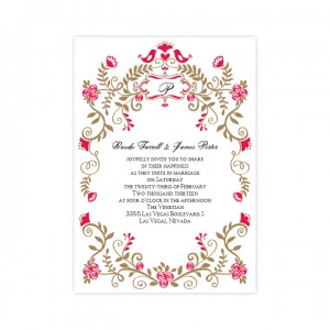 Regal Border Birds Wedding Invitations