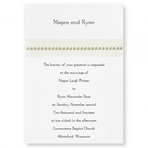 Regency Band Pearl Wedding Invitations