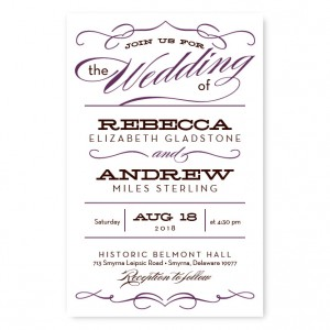 Retro Vintage Letterpress Wedding Invitations